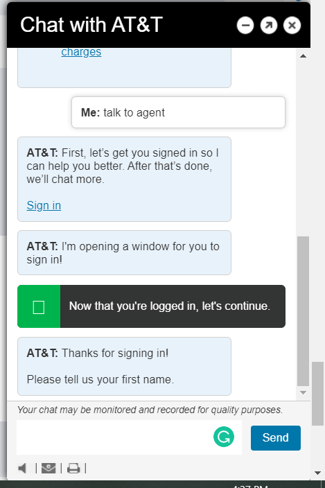 at&t customer care online chat